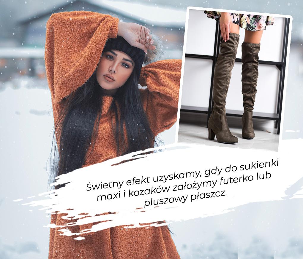 sukienka maxi i kozaki z futerkiem lub pluszowym płaszczem