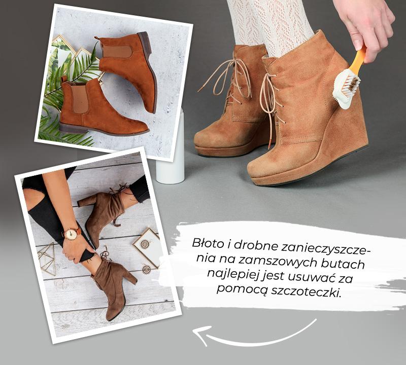 Пример того, как чистить замшевые сапоги щеткой.