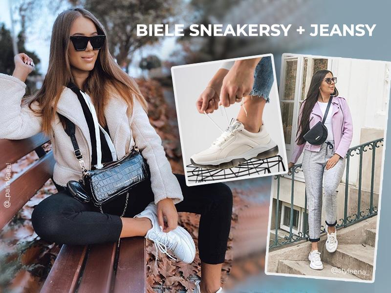 Białe sneakersy + jeansy