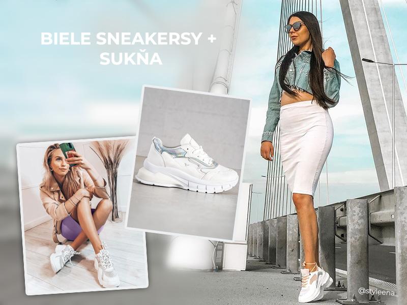Białe sneakersy + spódnica