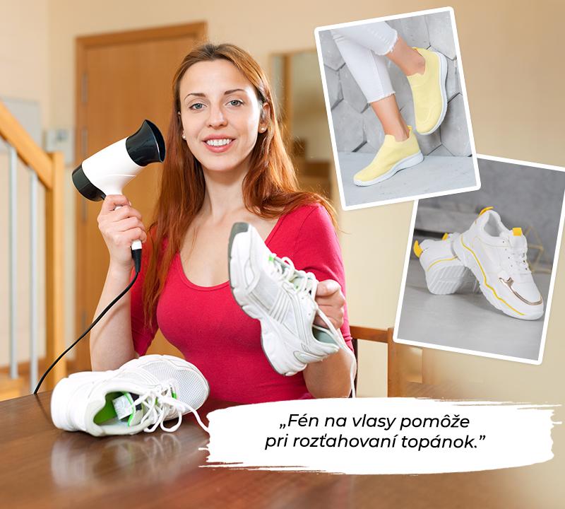 žena vyhrievajúca svoju športovú obuv so sušičkou, aby sa roztiahla a rozbila