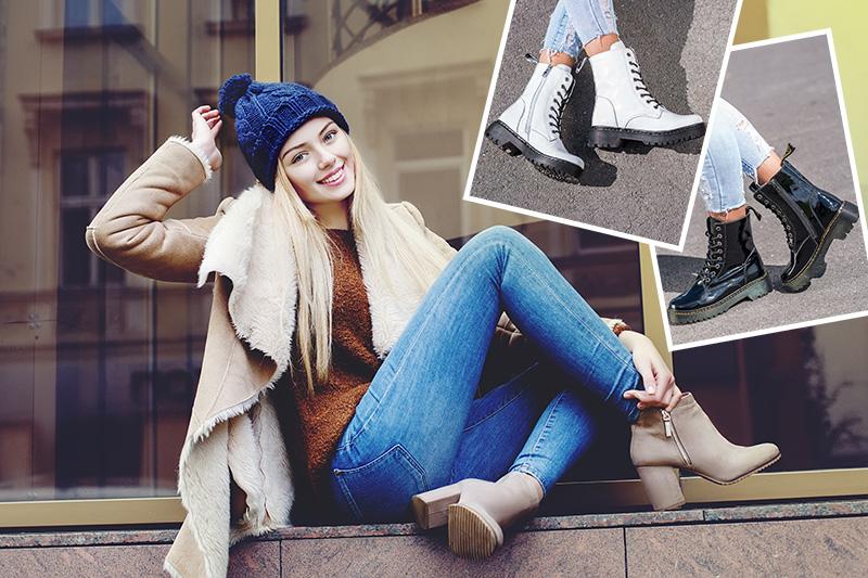 Улыбающаяся женщина, сидящая на пороге многоквартирного дома осенью в пропитанной обуви