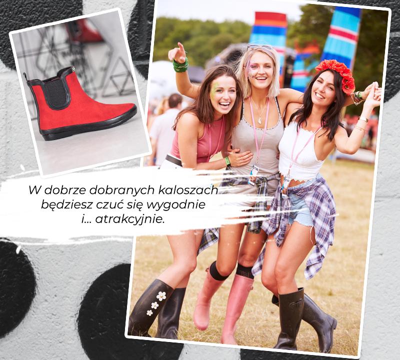 Grupa dziewczyn na letnim festiwalu w modnych kaloszach